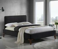 Durban Tela Marco Cama Doble o King Size en Negro o Gris Muebles de Dormitorio