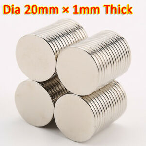 N35 NdFeB Magnets 20x1mm Neodymium Disc small strong thin round craft magnet