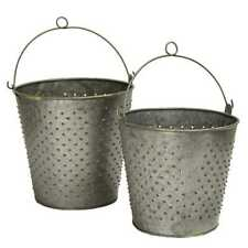 Galvanized Metal Punched Buckets - Set Of 2