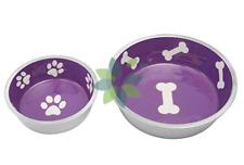 Pet Dog Cat Food Puppy Kitten Food Water Bowl Dish Feeder Purple Durable Set