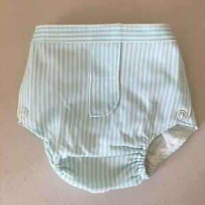 Vintage Baby Rubber Pants Diaper Cover by Alexis Small Blue Pinstripes
