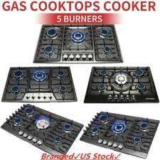 """Black 30"""" 34"""" 5 Burners Built-In Stove Ng/Lpg Gas Cooktops Hobs Stainless Steel"""