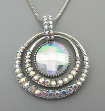 Betsey Johnson Women's AB White Glass Crystal Round Pendant Long Necklace