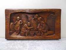Schweres Holz Wandbild Relief Weinkeller Vintage-Stil Handgefertigt 7 kg 70 cm