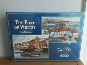 Gibsons 2 x 1000 Piece Jigsaws The Port of Whitby New & Sealed G5010 T Harrison