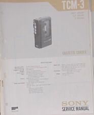 Grabadora De Cassette Sony TCM-3 Manual de taller de reparación de servicio (copia Original)