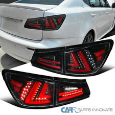 For Lexus 06-08 IS250 IS350 Pearl Black Full LED Tail Lights+Trunk Brake Lamps