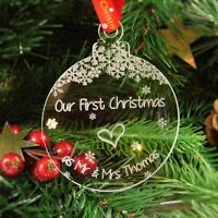 Personalised Christmas Tree Decoration Engraved Bauble Gift - Mr and Mrs Bauble