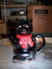 Japan Black Cat Teapot Tea Pot Cute Figural Ceramic Yellow Eyes