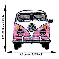 Pink Volkswagen Model Van Bus Vintage Classic Car V01 Applique Iron on Patch Sew