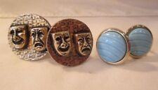 2 PAIRS of VINTAGE CUFF LINKS COMEDY & TRAGEDY & 1970's POWDER BLUE GLASS UNISEX