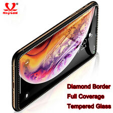 2* Full Coverage Plating Diamond Tempered Glass Screen Protector For iPhone X Xs