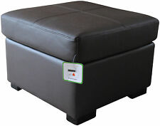 Dark Brown Genuine Real Leather Footstool Pouffe