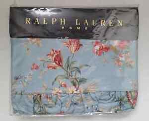 NOS RARE Vtg Ralph Lauren YVETTE Cottage Blue Floral Flat Sheet KING FREEUSHIP