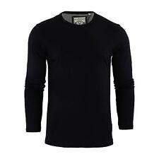 Mens T-shirt by Brave Soul Prague Cotton Long Sleeved Crew Neck Casual Top Black Medium