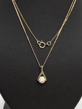 """9ct Yellow Gold Cubic Zirconia Pendant And 18"""" Curb Link Chain"""