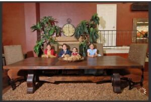 "MAGNIFICENT ""SKI-LODGE"" STYLE, 14-FOOT LONG DINING TABLE"