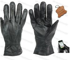 Ladies Black Real Genuine Leather Lined Gloves Womens Touchscreen Smart Driving Large 81110