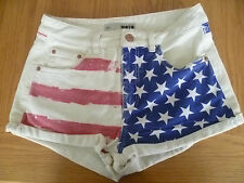 Topshop UK10 W28 Donna Stars & Stripes Denim Hot Pants Pantaloncini con eccellente