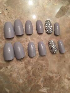 Dusty Lilac Bling Short Coffin False Nails False Nails choose your shape