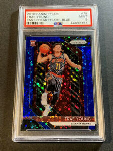 TRAE YOUNG 2018 PANINI PRIZM #78 FAST BREAK BLUE REFRACTOR /175 ROOKIE RC PSA 9