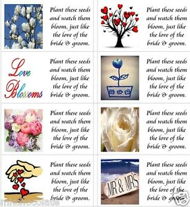 40 x Wedding seed labels/stickers for favours/presents/gift bags