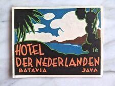 HOTEL DER NEDERLANDEN, BATAVIA...ORIGINAL LUGGAGE LABEL