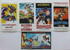 5 Adesivi UFO ROBOT GOLDRAKE formato 12 X 7 CM nuovi Mint Condition