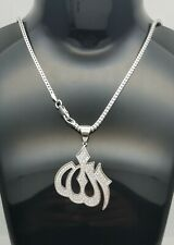 BIG Genuine Solid 925 Sterling Silver Strong Set Cubic ALLAH Charm Chain Set