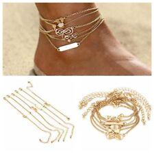 Chain Sandal Barefoot Beach Bracelets 6Pcs/set Bohemian Heart Anklets Foot