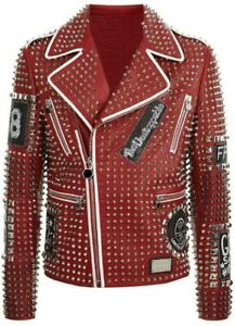 New Men's Coat Punk Rock Embroidery Patches with Multi Color Studded Jacket