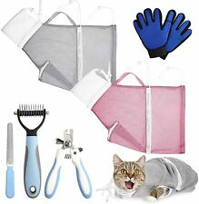 7Pack Cat Bathing Bag Set Pet Shower Net Bags with Pet Nail Clippers Us