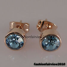 New 18K Rose Gold GP Crystal Blue Solitaire Ear Studs Earrings IE084A