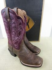 ARIAT 10015329 MESQUITE VINTAGE BOMBER/DISTRESSED MULBERRY WOMENS SIZE 6 WESTERN
