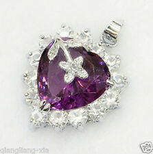 Fashion Genuine Jewelry Amethyst  CZ Necklace Pendant Free Chain