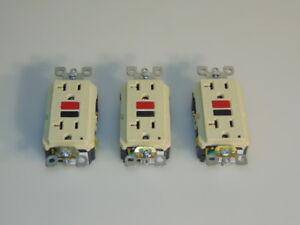 Leviton (3-Pack) Leviton 20 Amp 125-Volt Duplex Self-Test GFCI Outlet, Ivory