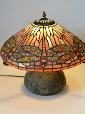 "Tiffany Style Stained Glass Dragonfly Table Lamp with Mosaic Base - 16""H x 16""W"