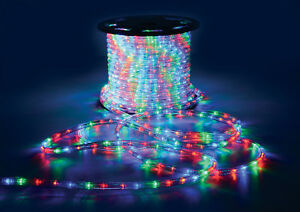 MULTICOLOUR 50M MAINS OPERATED WEATHER RESISTANT LED ROPE LIGHT INDOOR/OUTDOOR