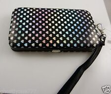 fits Iphone 5 smart phone Id wallet wristlet black silver heart design