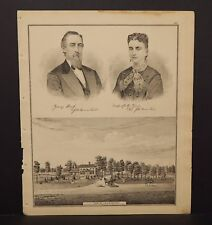 Ohio Portage County Map Res. J.B. Knowlton or A.D. Hoskin Engravings 1874 J17#54
