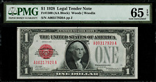 1928 $1 Legal Tender FR-1500 - Red Seal - Graded PMG 65 EPQ - Gem Uncirculated