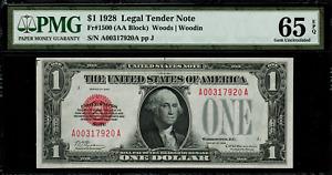 1928 $1 Legal Tender FR-1500 - Red Seal - Graded PMG 65 EPQ - Gem Uncirculated