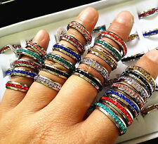Wholesale 50PCs One Row Full Circle Rhinestone Stainless Steel Mix Colours Rings