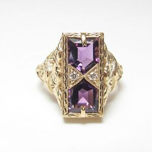 JCB Estate 14K Yellow Gold Grape Purple Amethyst Diamond Filigree Ring 1.50 Cts
