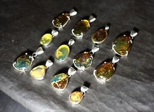 Wholesale Lot 12 unique blue green Amber .925 Sterling Silver Pendants 140cts