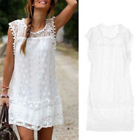 Women Sexy Lace Short Mini Dress Summer Sleeveless Casual Evening Party Cocktail