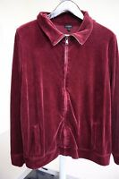 Talbots Cotton, Polyester & Rayon Blend Maroon Fully Zippered Sweater Size - XL