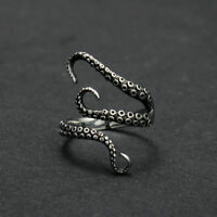 Vintage Steampunk Stainless Steel Octopus Finger Retro Open Adjustable Size Ring