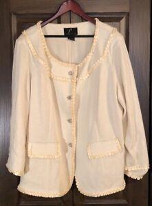 Liorah Cream Knit Rhinestone Blazer Jacket 22W