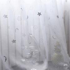 VoiIe Panel 1.4*2.4m Iron Silver Smile Stars and Moon 1PC white Window Fashion